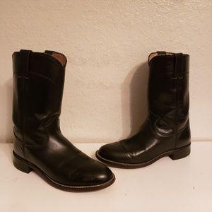 Justin Cowboy Western Black Boots Size 6.5